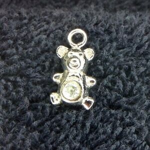 Sterling Silver Scrap Not 1 Grams Teddy Bear With A Diamond Belly Charm