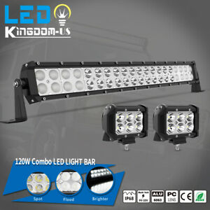 22 24inch Led Light Bar Spot Flood Combo 2x 4 Pods For Offroad Jeep Truck 4wd