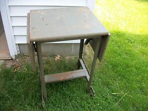 Vintage Industrial Steampunk Wood Steel Typewriter Table Desk