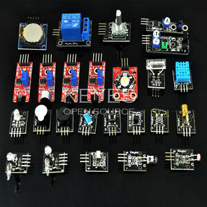24pcs Sensors Module Kits Switch Temperature Color For Arduino Uno R3 Mega 2560