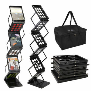 6 Pocket Magazine Display Holder Literature Rack Pop up Folding Brochure Rack