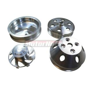 Small Block Chevy 350 Short Water Pump Serpentine Billet Aluminum Pulley Kit Set