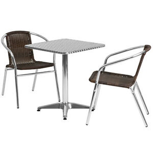23 5 square Aluminum Indoor outdoor Restaurant Table With 2 Brown Rattan Chairs