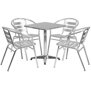 23 5 Square Aluminum Indoor outdoor Restaurant Table With 4 Slat Back Chairs