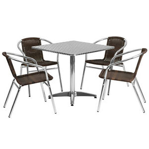 31 5 square Aluminum Indoor outdoor Restaurant Table With 4 Brown Rattan Chairs
