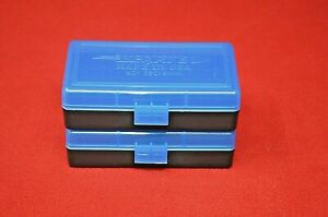 (2) BERRY'S PLASTIC AMMO BOX BLUE COLOR 50 Round 9MM 30 25 32 MPN
