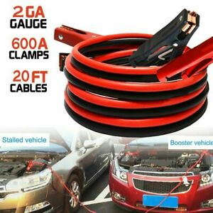 New Heavy Duty 20 Ft 2 Gauge Booster Cable Jumping Cables Power Jumper 600amp