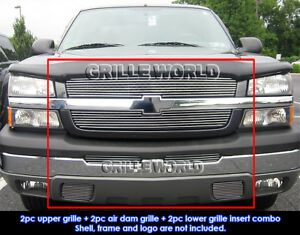 Aluminum Billet Grille Combo For Chevy 03 05 Silverado 1500 2500 Hd Avalanche