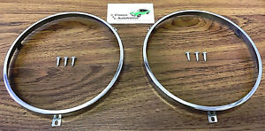 2 Headlamp Retaining Rings W Screws Chevrolet Pontiac Olds Head Lamp Headlight
