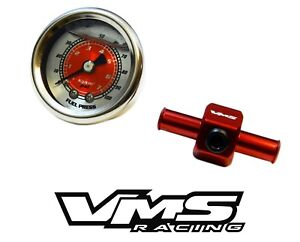 0 100 Psi Racing Fuel Pressure Gauge 3 8 Inline Hose End Tee Adapter Red