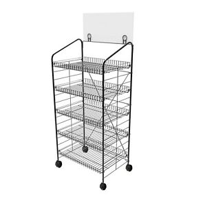 Bakery Display Rack Wheels Wire Metal Bakery Stand Merchandise Disdplay
