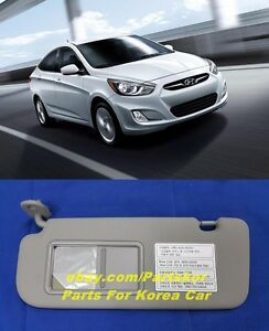For 2012 Hyundai Accent Verna Solaris Sun Visor Driver Side Gray trim Code 8m
