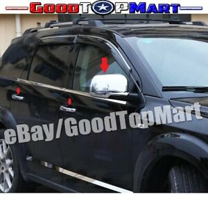 For 2013 14 Dodge Journey Chrome 4 Door Handle Cover Mirror Full Covers