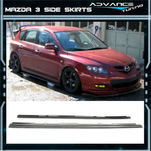 Fits 10 13 Mazda 3 Ms Jdm Urethane Black Side Skirts Extensions Add On Pu