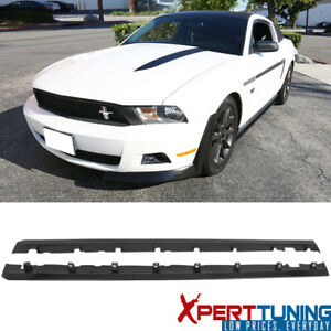 Fit 10 14 Mustang Urethane Pu Side Skirts Left Right Bodykits Black