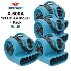 Xpower 1 3hp Air Mover Carpet Dryer Blower Floor Fan W gfci Outlets 4 Pack blue