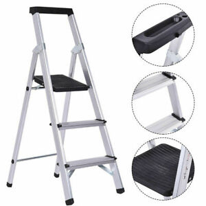 Non slip 3 Step Ladder Aluminum Folding Work Stool Platform 330lbs Load Capacity