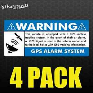 Gps 4 Pk 3 5x1 5 Blue Anti Theft Stickers Vehicle Security Alarm Decal Car Fs003