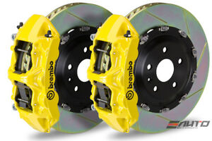 Brembo Front Gt Brake Bbk 6 Piston Yellow Caliper 380x34 Slot Rotor Audi S3 15