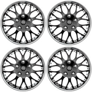 4pc Set Hub Cap Ice Black Chrome Trim 14 Inch For Rim Wheel Cover Caps Covers