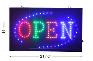 Large Animated Led Neon Business Open Sign W motion On off Switch 21 X13 045