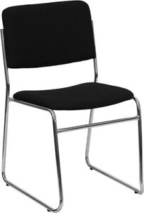 Heavy Duty Black Fabric High Density Stacking Chair With Chrome Sled Base