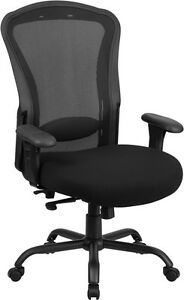 Big Tall Black Mesh Multi functional Swivel Office Chair With Synchro tilt