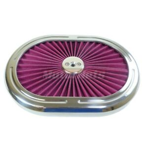 Aluminum 12 Oval Air Cleaner Top High Flow Washable Lid Cover Chevy Ford Sbc