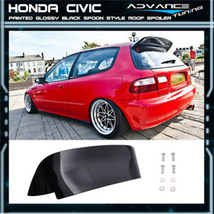 92 95 Honda Civic Eg Spoon Style 3dr Hatch Roof Spoiler Painted Glossy Black Abs