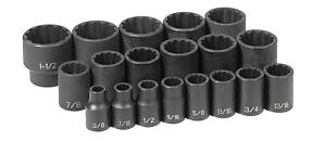 Grey Pneumatic Gry 1719 19pc 1 2in Dr 12pt Fractional Impact Socket Set