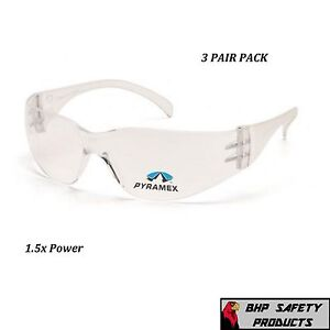 3 Pair Clear Reader Safety Glasses With Rx Bifocal Lens 1 5 Magnification