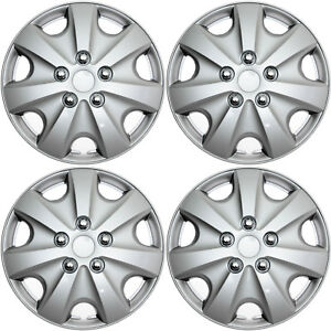 4 Pc Set Hub Caps Abs Silver 15 Inch Wheel Cover For Oem Rims Cap Covers