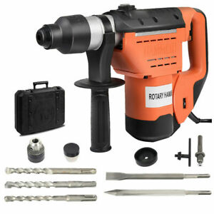 1 1 2 Sds Electric Rotary Hammer Drill Plus Demolition Bits Variable Speed New