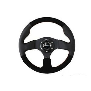 Nrg Steering Wheel 320mm Race Sport Black Leather Suede Red Stitching