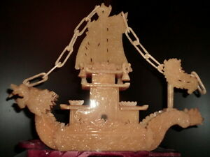 Very Large Beautiful Carved Yellow Jade Dragon Boat Statue 14 75 Ships Usa