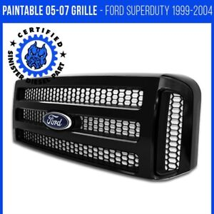 Ford Black Paintable Grille 05 07 Super Duty 99 04 F250 F350 Conversion Grill