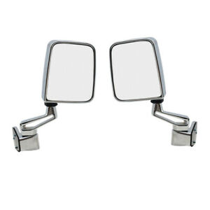 87 02 Wrangler Manual Chrome Folding Rear View Mirror Left Right Side Set Pair