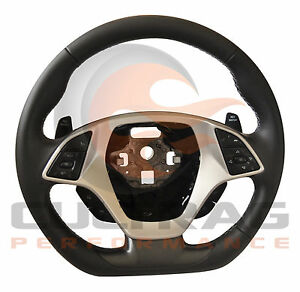2014 2019 C7 Corvette D Shaped Steering Wheel Manual Leather Gray Stitching