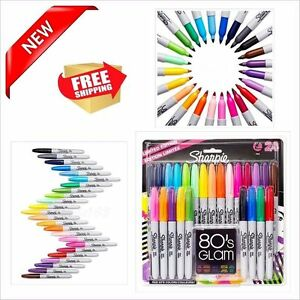 24 pack Assorted Colors Permanent Marker Point Fine Tip Art Supplies School New