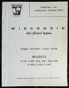 Wisconsin Air cooled Engines Starting operating Instructions 1 Cylinder 4 Cycle