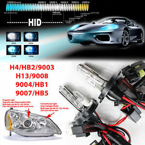 Two Dual Beam Hid Kit S Replacement Light Bulbs H4 H13 9004 9007 Halogen High