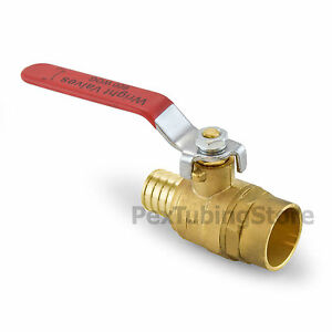 1 Pex crimp X 1 Sweat solder Brass Shut off Ball Valve Full Port