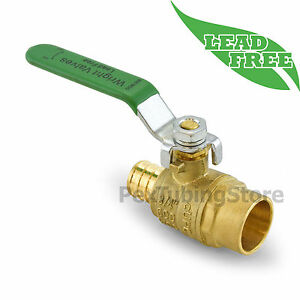 10 3 4 Pex Crimp X 3 4 Sweat Lead free Brass Shut off Ball Valve Full Port