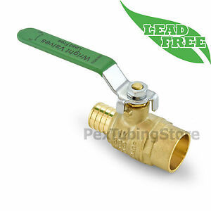 1 Pex crimp X 1 Sweat Lead free Brass Shut off Ball Valve Full Port