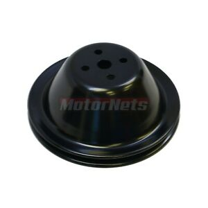 Black Steel Small Block Chevy Sbc Short Water Pump Upper Pulley 1 Single Groove
