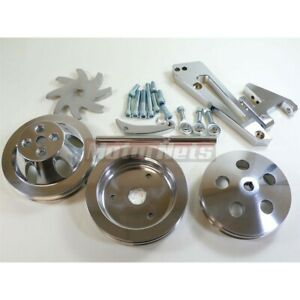 Polished Aluminum Bbc Chevy Short Water Pump Pulley Kits Double Groove Hot Rod