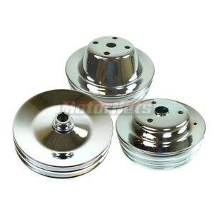 Sbc Chevy Chrome Long Water Pump Pulleys 2 3 2 Groove Power Steering Crankshaft