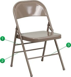 Metal Folding Chair Beige Color Triple Braced And Double Hinged Heavy Duty