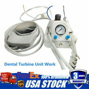 Portable Dental Turbine Unit Work W air Compressor 3 Way Syringe Handpiece 4 H