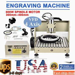 4 Axis 3040 Cnc Router Engraver Engraving Mill Drill Machine 3d Cutter vfd 800w